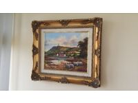 Framed Oil Painting by William Yeaman. Landscape, Scrabo tower.
