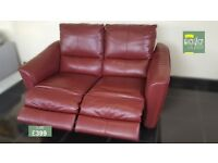 Designer Red leather 2 seater sofa (182) £399