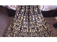 Women's Indian Wedding Dress (Navy Blue and Gold) with Trail and Scarf: UK Size 10/12