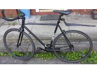 Matte black single speed fixie bike