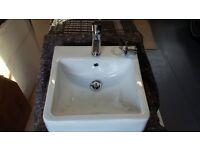 Square white ceramic basin