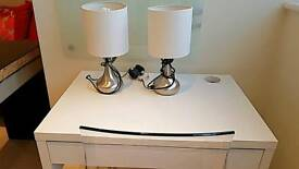 LIKE NEW - 2 x Bedside / Desk / Side Board Lamps - Touch Operated.