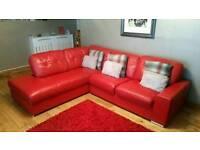 Stunning Italian leather corner sofa