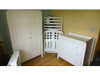 Mamas & Papas cot bed and furniture in white