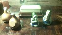Antique salt and pepper shakers, butter dish