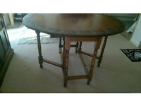 Quality Dark Oak Drop Leaf Table For Sale