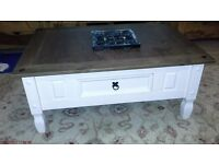 Off White and Wood Coffee Table Great condition.