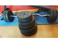 50kgs weights plus curly bar and 24kg dumbell