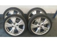 """17"""" Peugeot alloy wheels with 4 good tyres 4x108 ford fitment citroen"""