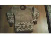 winter jumpers hand knitted in various sizes and colours made in double knit wool