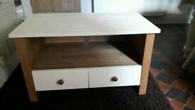 Solid oak tv unit and side board cupboard with draws