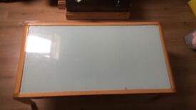 Glass & wood coffee table with drawer