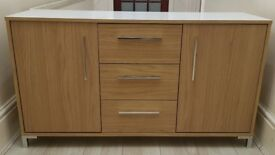 Oak and White Gloss Sideboard with Chrome Feet and Handles