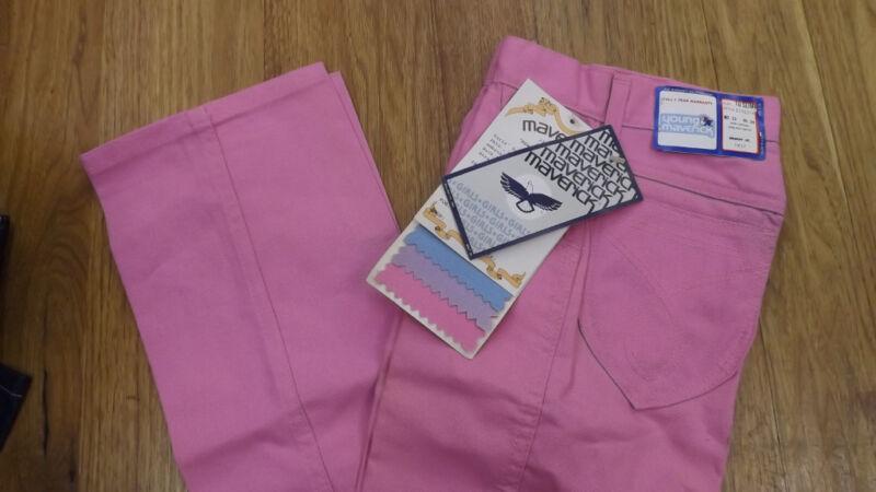 VTG Girls Maverick Blue Bell Pink Canvas Jeans sz 10 Slim NOS USA Made 23 x 28