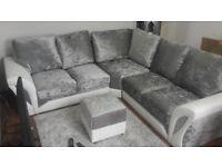 NEW SCS VELVET corner sofa with FREE FOOTSTOOL