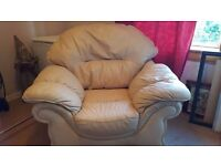 Big comfy cream leather arm chair