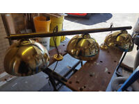 Brass 3 dome pool table ceiling light set.