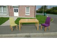 Soild beechwood table and 2 chairs