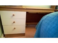 desk/dressing table: Modern solid wood desk, three drawers and a lift lid storage section and shelf