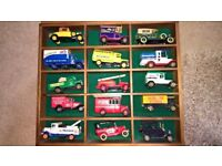 50 Corgi & Lledo Diecast Model Cars / Vans in Display Cases - Job Lot