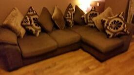 Brown left hand corner suite with chair and pouffe