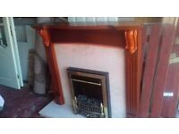 Mahogany and Marble fireplace with coal effect electric fire