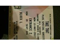 2 Take That tickets for 3 arena. Monday 15th May
