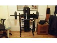 Everlast weight bench with barbell, dumbbells and 50kg weights