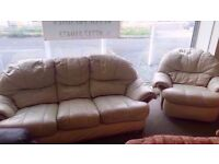 GOOD CONDITION! 3 seater cream leather sofa and swivel armchair set