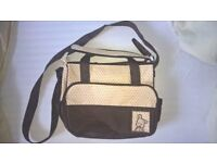 SMALL BROWN AND CREAM CHANGING BAG