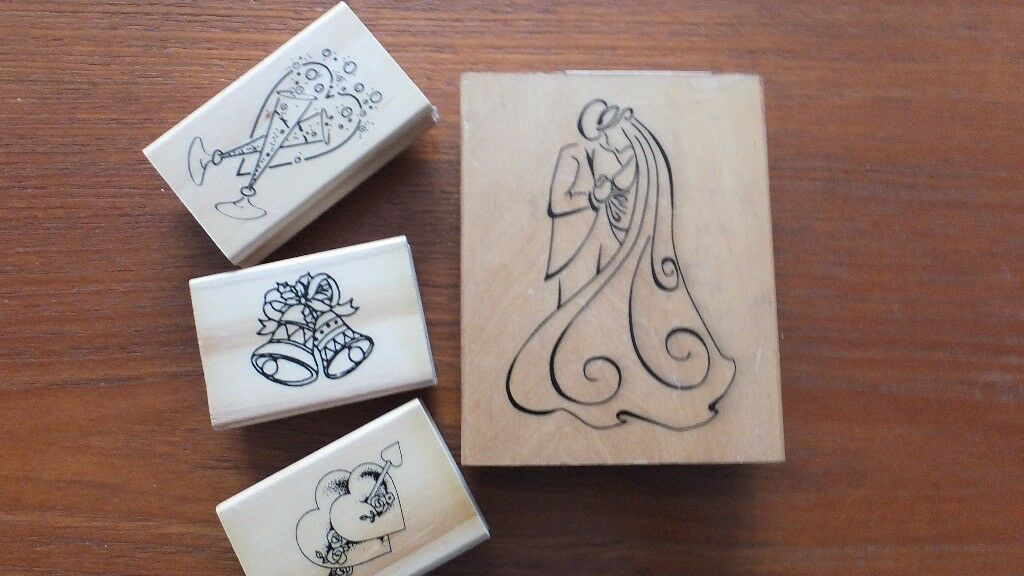 4 X Wedding Themed Rubber Stamps 69