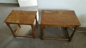 Nest of solid wood side tables
