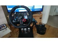 Logitech g29 with pedals and shifter mounted on GT omega stand v2 stand