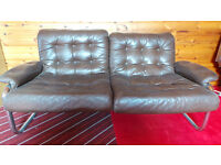 2 x TWO SEATER SOFA'S, 1 X ARMCHAIR IN BROWN LEATHERETTE FINISH