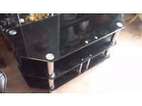 Large Glass tv stand 3 shelves - black and chrome/silver