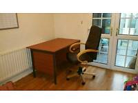 Large and lockable office desk and chair