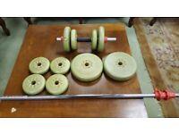 York Fitness 21 KG Adjustable Vinyl Spinlock Dumbbell Set with 170 cm Bar