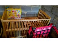 Baby Cot, Mattress and Musical cot mobile.