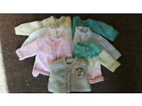 Baby girls hand knitted cardigans