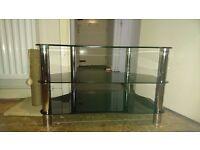 Black glass tv stand, black glass coffee table