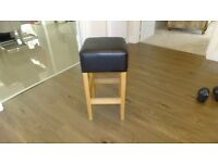 3 Solid Oak and real leather bar stools