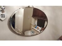 Vintage Retro Large Over Mantle Wall Mirror with Hanging Chain and wooden back