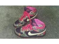 Rare Ladies Nike High Dunk pink/purple/floral trainers Size 5