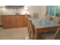 Dining table and chairs and unit