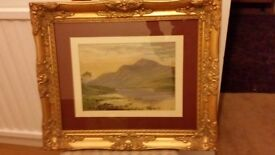 1919c Original Scottish highlands oil on board Gilt Frame