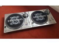 Pair of Stanton STR8-100 turntables and Numark DM2000X 3 Channel Mixer