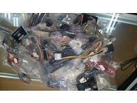 JOB LOT OVER 100 COMPUTER PC INTERNAL CABLES FANS MOLEX SATA iEEE POWER