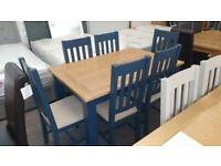 Julian Bowen Richmond Extending Dining Table & 6 Chairs Midnight Blue Can Deliver