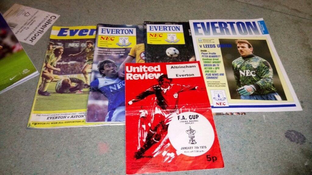 A large selection of Everton programmes