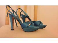 New L K Bennet blue summer shoes with heels, size 4 UK, 37 European